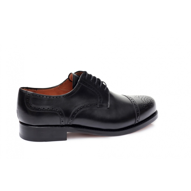Derby Halfbrogue Schwarz Boxcalf